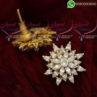 Ear Studs for Women White Stones Latest Jewellery Designs