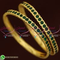 Emerald Stones Gold Finish Bangles Thick Metal Imitation Jewellery Shop Online