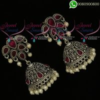 German Silver Jewellery Oxidised Kemp Stones Jhumki Earrings Online