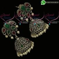 German Silver Jewellery Oxidised Red Green Stones Jhumki Earrings Online