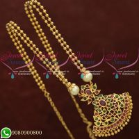 Gold Plated Jewellery Chain Pendant Double Line Beads Model Online