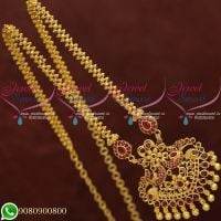 Gold Plated Jewellery Chain Pendant Ruby Stones Peacock Design Online