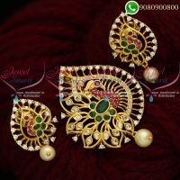 Gold Plated Jewellery AD Stone Pendant Set Imitation Peacock Designs