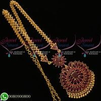 Gold Plated Jewellery Chain Pendant Set Ruby Stones Collections