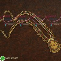 Gold Plated Jewellery Long Necklace Beads Design Latest Designs