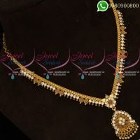 Gold Plated Necklace White AD Stones Low Price South Indian Online