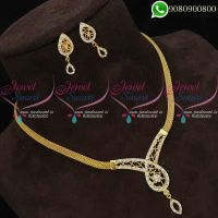 Gold Plated Necklace Simple Design Jewellery Set Low Price Online