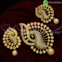Gold Plated Pendant Set White AD Stones Stylish Jewellery Designs
