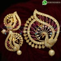 Gold Plated Pendant Set Latest Peacock Designs Shop Online