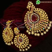 Gold Plated Pendant Set Peacock American Diamond Stones Online