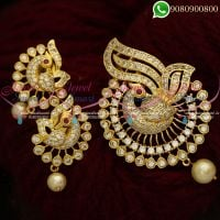 Gold Plated Pendant Set White AD Stone Peacock Jewellery Set