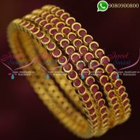 Ruby Stone Bangles Online Latest Design Gold Plated 4 Pieces Set