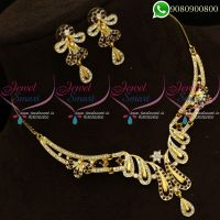 Gold Silver Two Tone Plated Low Price Austrian Stones Maroon Colour Necklace Set