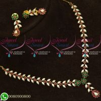 Hyderabad Pearl Ruby Emerald Traditional Necklace Set Gold Plated