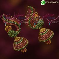 Jhumkas Online AD Ruby Emerald Stones Peacock Classic Jewellery