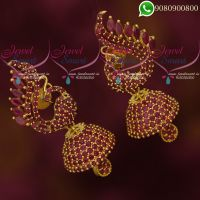 Jhumkas Online AD Ruby Stones Peacock Classic Jewellery
