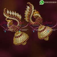 Jhumkas Online AD Ruby White Stones Peacock Classic Jewellery
