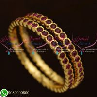 Kemp Stones Gold Finish Real Look Getti Metal South Indian Bangles