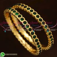 Kemp Stones Gold Finish Bangles Thick Metal Green Stones Online