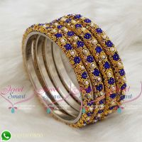 Lac Bangles Dark Blue Indian Jewellery Colour 4 Pieces Set Matching