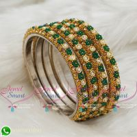 Lac Bangles Indian Jewellery Green Colour 4 Pieces Set Matching