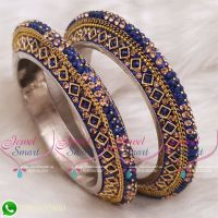 Dark Blue Colour Lac Bangles Handmade Brass Base Matching Jewellery