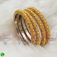 Lac Gala Bangles Indian Jewellery Yellow Colour 4 Pieces Set Matching
