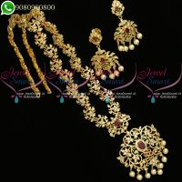 Long Necklace Haram AD Jewellery For Sarees Latest Imitation Online