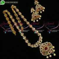 Long Necklace Haram Peacock Design AD Jewellery For Sarees