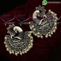 Oxidised Jewellery Silver Earrings Plated Ruby Emerald Stones