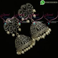 Oxidised Jhumka Earrings Online Black Stones Silver Plated Jewellery