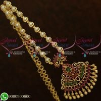 Pearl Chain Traditional Design Marquise AD Stones Pendant Gold Plated