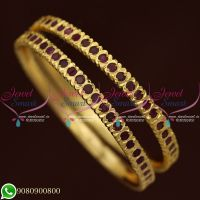 Ruby Stones Gold Finish Bangles Thick Metal Imitation Jewellery Shop Online