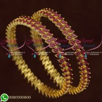 Ruby Bangles Gold Plated Jewellery Marquise Stones New Designs