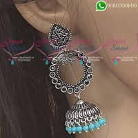 Silver Jhumka Oxidised Jewellery Blue Colour Fashion Jewellery