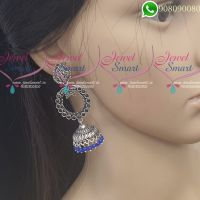 Silver Jhumka Oxidised Jewellery Dark Blue Colour Fashion Jewellery