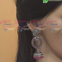 Silver Jhumka Oxidised Jewellery Red Colour Fashion Jewellery