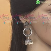 Silver Jhumka Oxidised Jewellery White Colour Latest Fashion