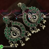 Silver Plated Earrings Peacock Green Oxidised Fashion Jewellery Shop Online