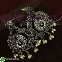 Silver Plated Earrings Peacock Black Oxidised Fashion Jewellery Shop Online