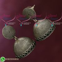 Silver Plated Jhumka Earrings Green Oxidised Jewellery Shop Online