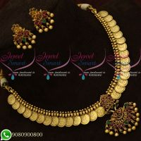 Temple Coin Necklace Antique Jewellery Attigai Design Traditional Shop Online