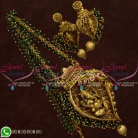 Temple Jewellery Green Crystal Mala Lord Ganesh Pendant Antique Gold Plated Online