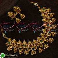 Temple Jewellery Jhumka Necklace Antique Gold Plated Lord Ganesh Design