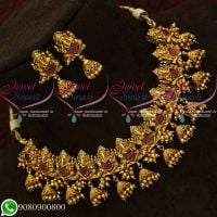Temple Jewellery Jhumka Necklace Antique Gold Plated Shop Online