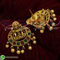 Temple Jewellery Kemp Stones Lakshmi Ear Studs Bead Drops Shop Online
