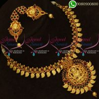 Temple Jewellery Necklace Set Reddish Yellow Gold Plated Online