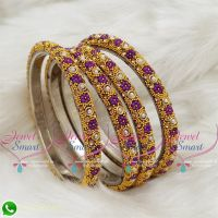 Violet Colour Lac Bangles Dress Matching Indian Jewellery Online