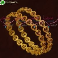 Gold Plated Bangles South Jewellery Designs Ruby Emerald Stones