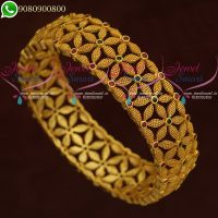 Gold Plated Bangles Broad Ruby Stones Floral Jewellery Designs Online